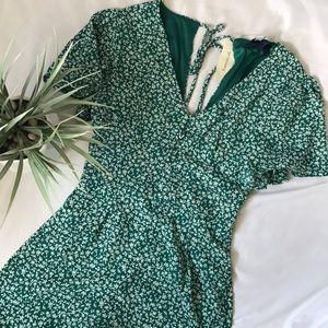 NWT Francesca's green floral jumpsuit size xs